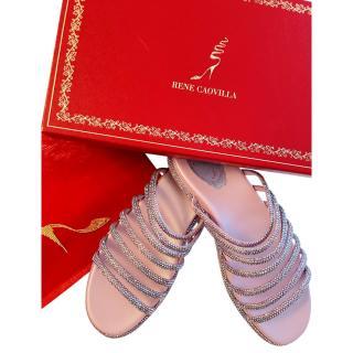 Rene Caovilla Pink Crystal Embellished Strappy Flat Sandals