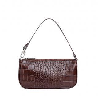 BY FAR Rachel Nutella Croco Embossed Leather Shoulder Bag