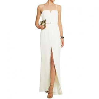 Halston White Crepe Belted Gown