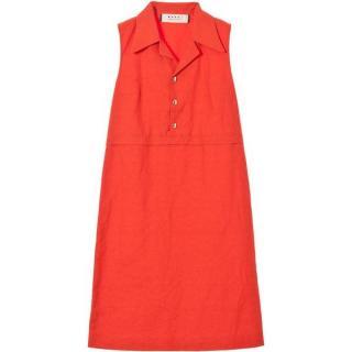 Marni Linen & Cotton Sleeveless Shirt Dress