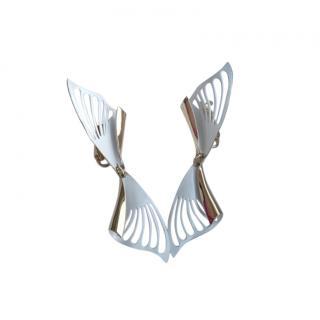 Christian Dior Vintage White Enamel Gold Tone Cut-Out Earrings
