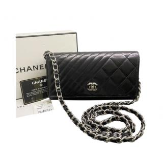 Chanel Black Chevron & Quilted Lambskin Wallet on Chain