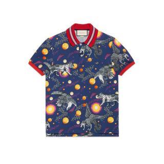 Gucci Blue Space Animals Print Polo Shirt