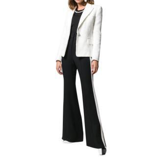 Balmain white single-button tweed blazer