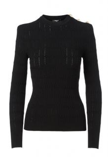 Balmain Openwork Knit Sweater With Buttons
