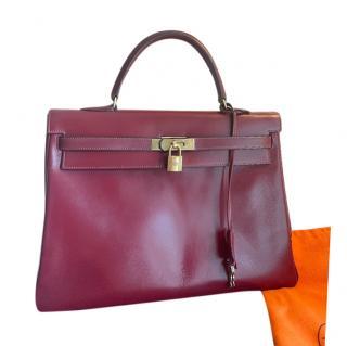Hermes Bordeaux Box Calfskin Kelly Retourne 35 PHW