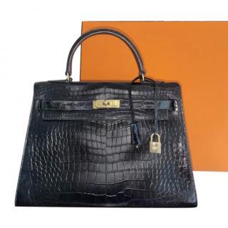 Hermes Vintage Black Crocodile Kelly Sellier 32 GHW