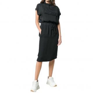 Versace Rubberised Hooded Black Dress