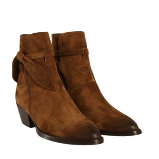 Saint Laurent Brown Suede Bow Detail Ankle Boots