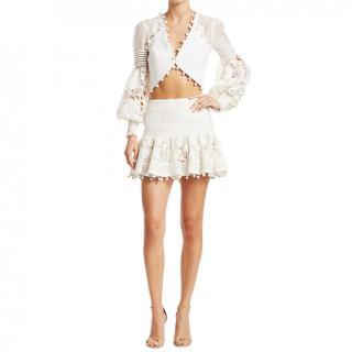 Zimmermann White Pom Pom Corsage Mini Skirt
