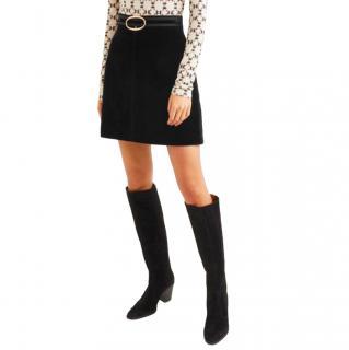 Vanessa Bruno Black A-Line Velvet Skirt