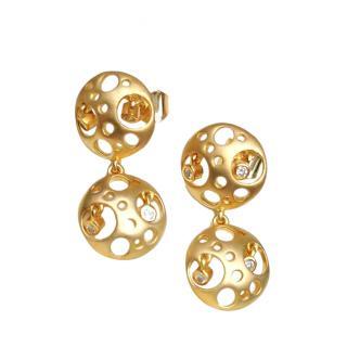 Fei Lui 18ct Brushed Gold Cut-Out Diamond Earrings