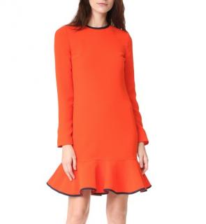 Victoria Victoria Beckham Flounce Hem Dress In Orange Zest