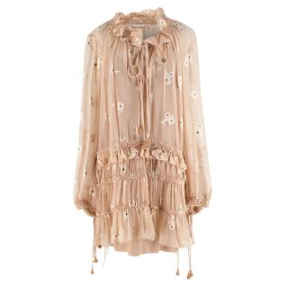 Chloe Silk Beige Rose Dress