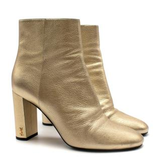 Saint Laurent Gold Leather Heeled Ankle Boots