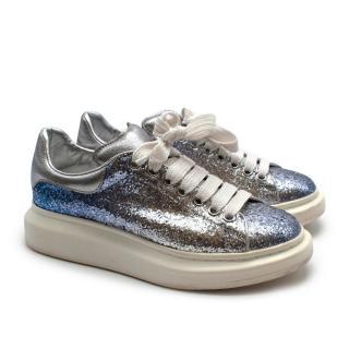 Alexander McQueen Silver Glitter Oversize Trainers