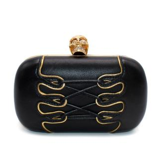 Alexander McQueen Black Leather Lace-up Detail Skull Clutch