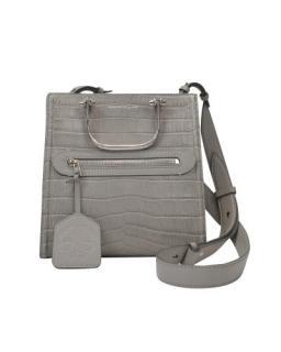 Alexander McQueen Grey Croc Embossed Short Story Bag