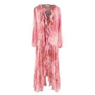 Zimmermann Pink&Cream Silk Long Dress