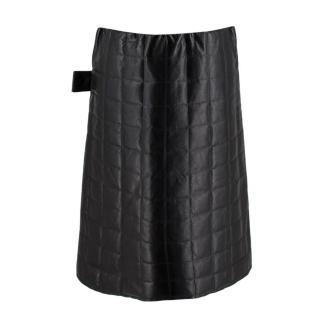Bottega Veneta Black Leather Quilted Skirt