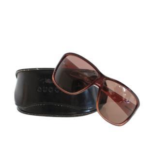 Gucci Brown Oversize Crystal Embellished Sunglasses
