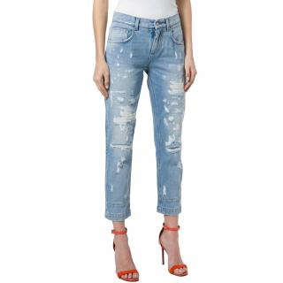 Dolce & Gabbana DIstressed Ankle Crop Boyfriend Jeans