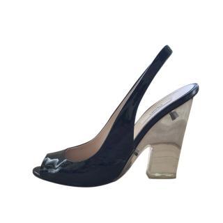 Prada Black Patent Slingback Sandals