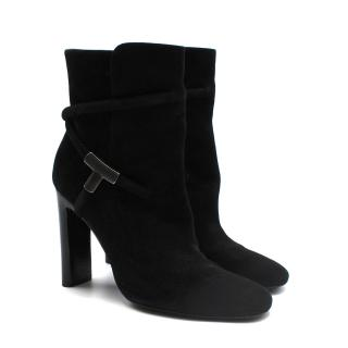 Tom Ford Black Suede Heel Boots