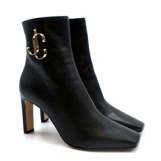Jimmy Choo Black Leather Minori Ankle Boots