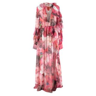MSGM Floral Print V Neck Ruffled Dress
