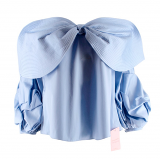 Johanna Oritz Caravan Off-the-Shoulder Bow Cotton-Poplin Top