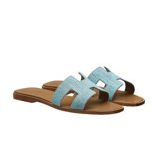 Hermes Sold Out Rare Bleu Clair Denim Oran Sandals