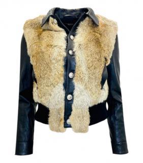 Versus Versace Leather & Rabbit Fur Jacket