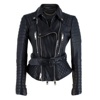 Burberry Prorsum Black Belted Biker Jacket