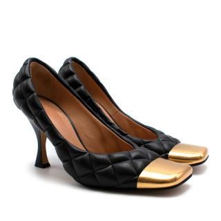 Bottega Veneta Black & Gold Quilted Leather Pumps