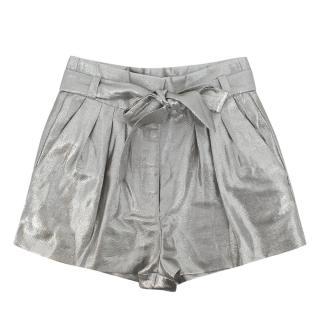 Iro Silver Metallic Belted Bermuda Shorts