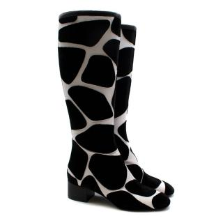 Valentino Giraffe Print Black City Safari Boots