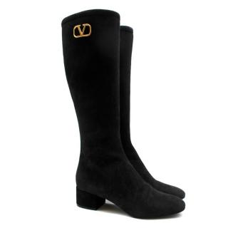 Valentino Garavani Black Suede Knee Boots