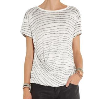 Maje Striped Linen Draped Top