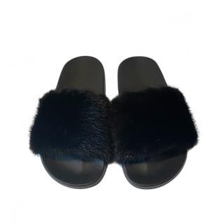 Givenchy Black Mink Fur Slides
