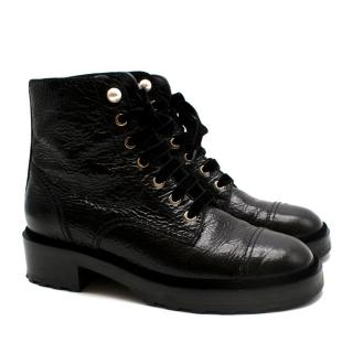 Chanel Black Grained Patent Leather CC Combat Boots