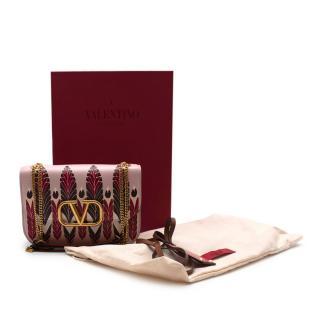 Valentino Pink Print Leather V Sling Shoulder Bag