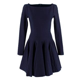Alaia Sapphire Textured Long Sleeve Dress