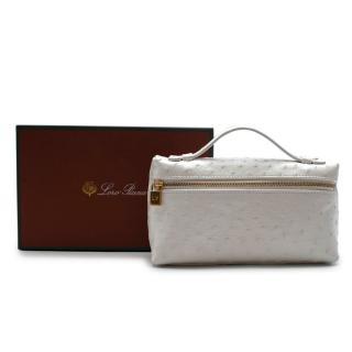Loro Piana White Ostrich Leather Clutch Bag