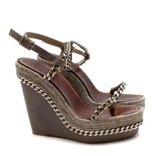 Christian Louboutin Taupe Leather Chain Detail Wedge Sandals