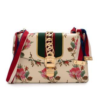 Gucci Ivory Floral Print Web Shoulder Bag