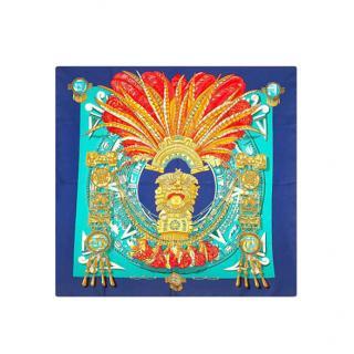 Hermes Blue Mexique Silk Scarf 90