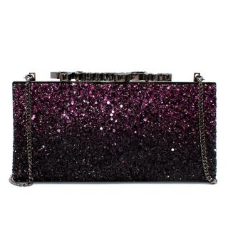 Jimmy Choo Purple Glitter Clutch Bag