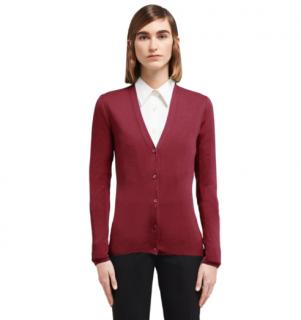 Prada Burgundy Cashmere & Silk Knit Cardigan