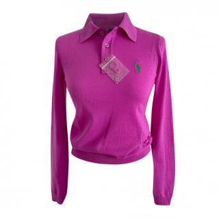 Ralph Lauren Collection Fuchsia Cashmere Polo Shirt